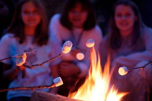 Firepit Group of Kids Roasting Marshmallows