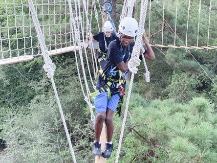 Kids on rope bridge